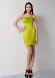 Parma OH Popular Strapless Mini-length Olive Green Prom Dress for Ladies