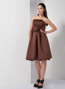 Discount Strapless Brown Short Dress for Prom with Bowknot Fast Shipping