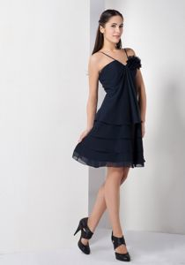 Affordable Spaghetti Straps Short Navy Blue Prom Dress in Powell OH