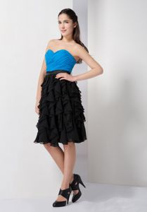 Customer Made Sky Blue and Black Short Prom Dress with Ruffled Hem
