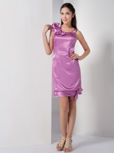 Oxford USA Mini-length Lavender Prom Dress with Asymmetrical Neckline