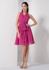 Affordable Zipper-up Halter Ruched Fuchsia Short Junior Prom Dress with Sash