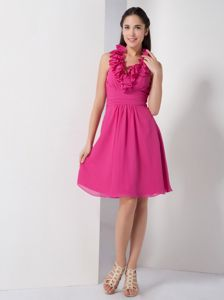 low Price Chiffon Hot Pink Short Prom Outfits with Ruffled Halter under 100
