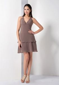 Trendy Zipper-up Halter Mini-length Brown Chiffon Prom Dress under 100