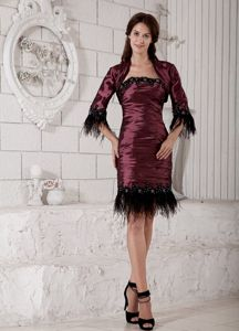 Column Strapless Knee-length Ruched Burgundy Prom Dress with Appliques