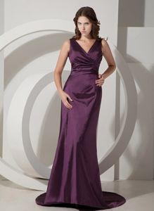 Desirable V-neck Lace-up Dark Purple Prom Dress Brush Train in Oxford USA