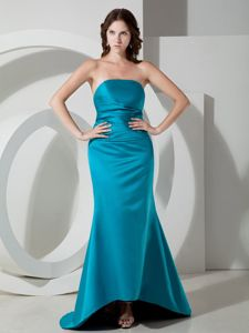 Simple Style Lace-up Strapless Satin Brush Train Formal Prom Outfits in Teal