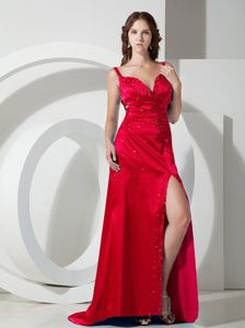 Showy Straps Beaded Slitted Red Formal Dress for Prom in North Royalton OH