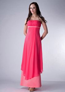 Pepper Pike USA Girly Strapless Ankle-length Prom Dress in Watermelon Red