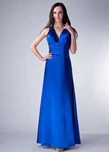 Oxford USA V-neck Royal Blue Long Prom Dress for Summer with Keyhole