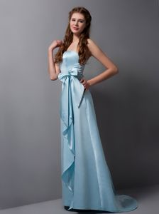 Plus Size Strapless Brush Train Baby Blue Long Prom Dress for Girls with Sash