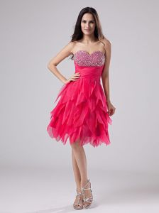 Modernistic Coral Red Beaded Prom Attire with Asymmetrical Hemline on Sale