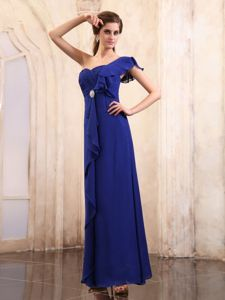 Chiffon One Shoulder Long Formal Prom Dress in Royal Blue Fast Shipping