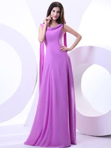 Watteau Train Lavender Chiffon Formal Prom Dress with Draped Neck in Vogue