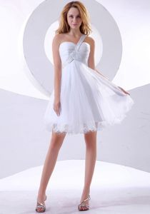Dreamy One Shoulder White Short Informal Prom Dress for Cocktail Party