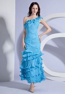 Gorgeous One Shoulder Pleated Ruffled Long Prom Dress in Aqua Blue