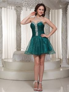 Exquisite Organza Mini Green Prom Outfits with Rhinestones Fast Shipping