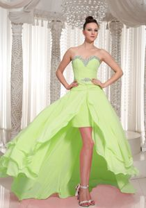 Sweetheart Beaded Yellow Green High-low Prom Dress for Summer in Chiffon