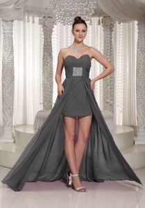 Modest High-low Ruched Gray Chiffon Prom Dresses for Ladies under 150