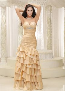Plain City USA Famous Sweetheart Champagne Prom Dress with Ruffled Hem