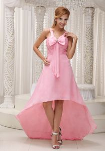 Free Shipping Straps High-low Ruched Pink Prom Dresses in Powell OH