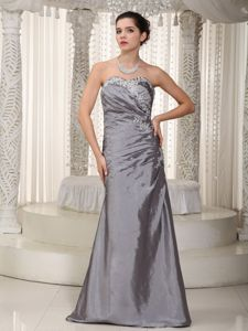 Timeless Appliqued Gray Column Long Prom Dress for Mother of the Bride