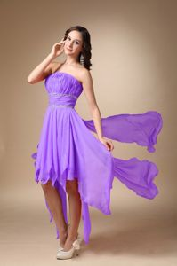 Oxford USA Hot Strapless Ruched Lavender Prom Dress Asymmetrical Hem