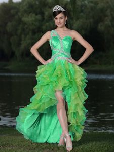 Beautiful One Shoulder High-low Beaded Ruffled Prom Attire in Multi Colors