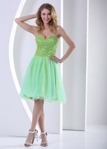 Customer Made Lace-up Knee-length Juniors Prom Dress in Yellow Green