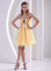 Perfect Lace-up Beading Ruched Organza Prom Gown with Keyhole
