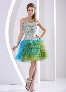 Cute Sequined Prom Gown Dress with Ruffled Layers in Tillicoultry