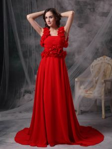 Court Train Red Straps Dresses for Prom with Hand Made Flowers
