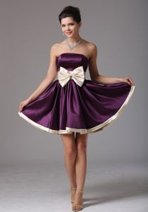 Lovely Taffeta Purple Strapless Mini-length Prom Dresses with Bow
