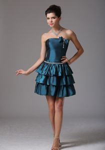 Multi-tiered Strapless Prom Outfits with Ruffles and Bow in Bristol