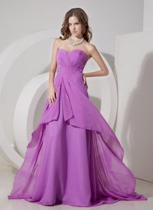 New Arrival Lavender Sweetheart Brush Train Prom Gown in Chiffon