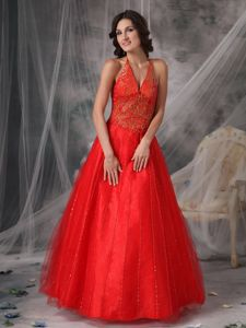 Latest Red Halter Sequined Beading Tulle Prom Gown in Crianlarich