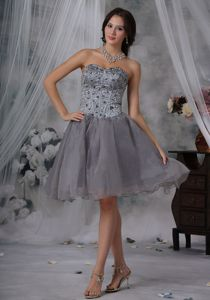 Gray Sweetheart Beading Organza Prom Gown Dresses Under 200