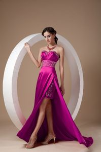 Modest Fuchsia High Slit Beading Sweetheart Prom Gown in Falkirk