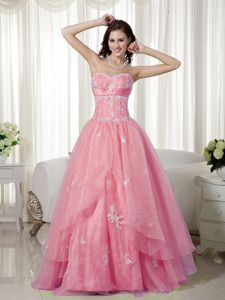 A-line Sweetheart Appliqued Rose Pink Formal Prom Outfits with High Quality