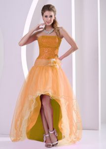 Strapless High-low Sequin Organza Orange Prom Dress for 2012 Summer