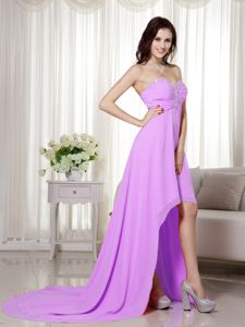 High-low Chiffon Lavender Prom Dresses with Beaded Sweetheart Neckline