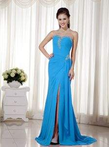 Classic Sky Blue Slitted Beaded Long Formal Dress for Prom in Jackson USA