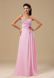 Beaded Pink Chiffon Maxi Prom Dress with Floral Embellishment Online Shop