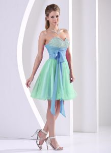 Popular Beaded Multi-color Short Prom Dress with Sash in New Jersey USA