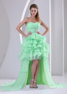 Sweetheart High-low Beaded Apple Green Formal Prom Dress with Ruffled Hem