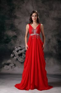 v-Neck Red Draped Formal Dresses for Prom with Beading under 150