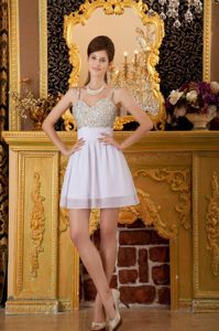 Pretty Spaghetti Straps Mini-length White Cocktail Prom Dress with Beading