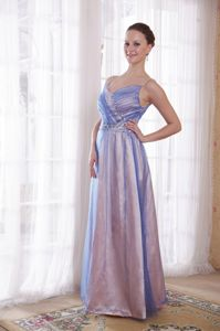 Spaghetti Straps Beaded Tow-toned Long Prom Dress for Women in Simple Style