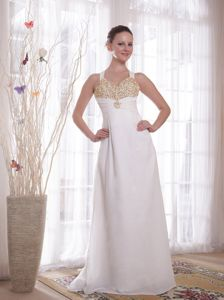 Straps Beaded White Long Chiffon Prom Gown Dresses Fast Shipping