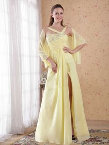 Asymmetrical Neck Slitted Beaded Light Yellow Prom Dress on Discount